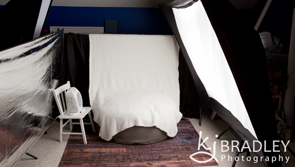 Newborn session lighting setup