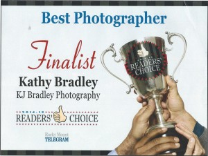 Finalist Certificate from 2015 Reader's Choice Awards - Best Photographer