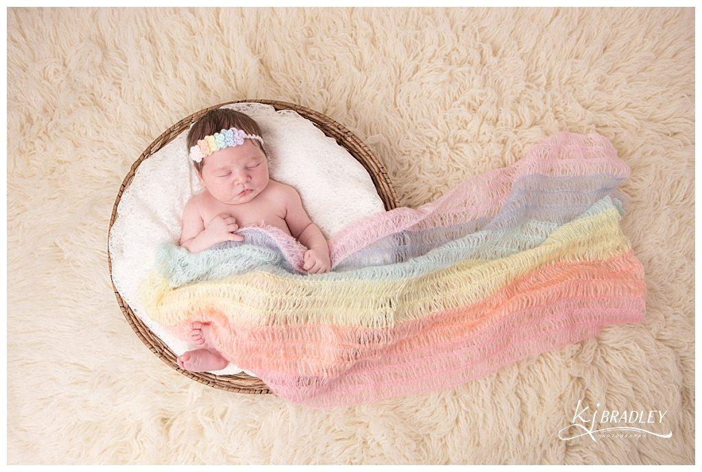 Rainbow Newborn Baby Girl | KJ Bradley Photography